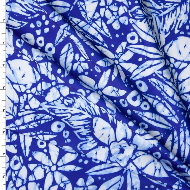 Blue and White Tie Dye Look Tropical Floral Nylon/Spandex Print Fabric By The Yard