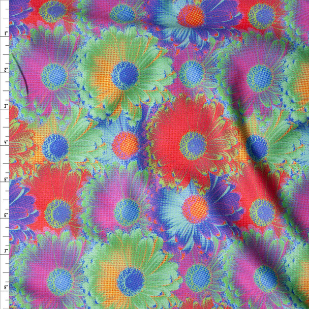 Vibrant Pop Art Daisies Nylon/Spandex Print Fabric By The Yard