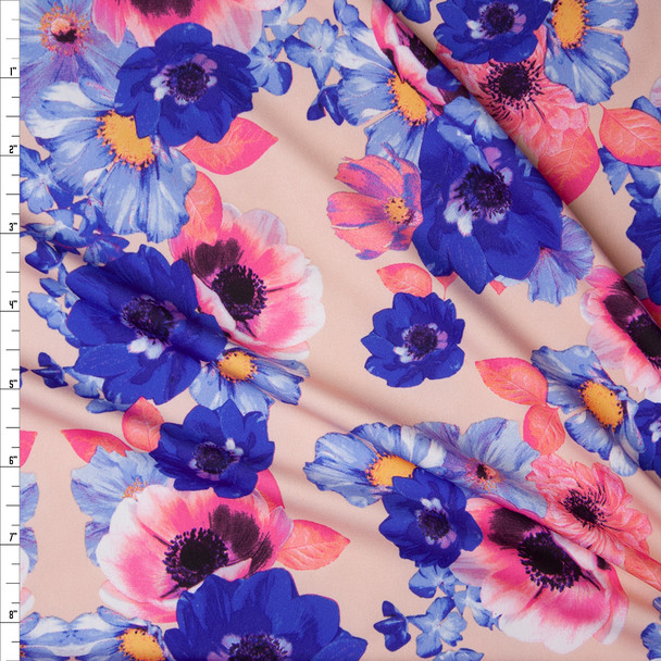 Hot Pink, Blue, and Yellow Flowers on Blush Nylon/Spandex Print Fabric By The Yard