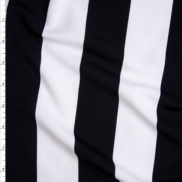Black and White Wide Stripe Nylon/Spandex Print Fabric By The Yard