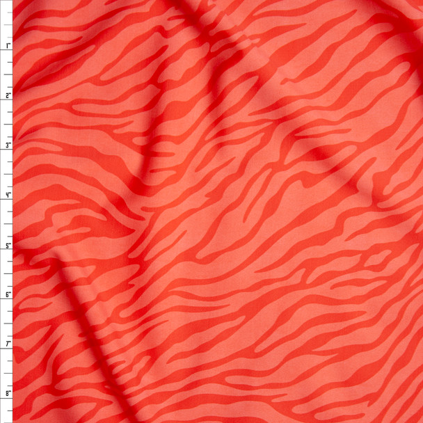Bright Coral on Coral Zebra Print Nylon/Spandex Print Fabric By The Yard