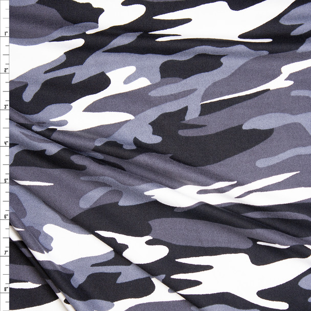 Black, Grey, and White Camouflage Double Brushed Poly Spandex Fabric By The Yard