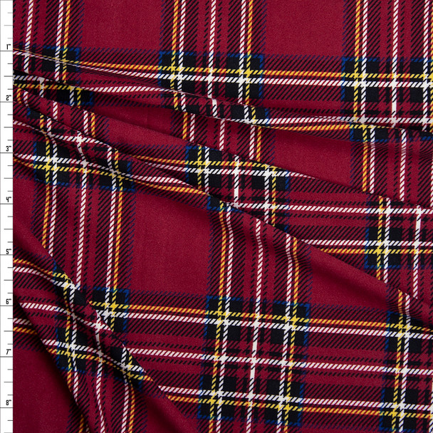 Red, Black, White, Yellow, and Blue Plaid Double Brushed Poly Spandex Fabric By The Yard