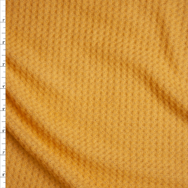Mustard Brushed Soft Rayon Waffle Sweater Knit Fabric By The Yard