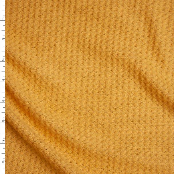 Mustard Brushed Soft Rayon Waffle Sweater Knit Fabric By The Yard