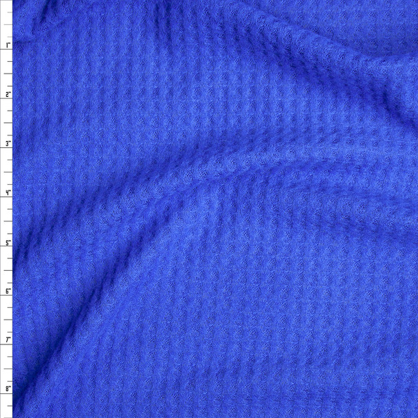 Bright Blue Brushed Soft Rayon Waffle Sweater Knit Fabric By The Yard