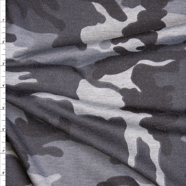 Black and Grey Camouflage Print Lightweight French Terry Fabric By The Yard