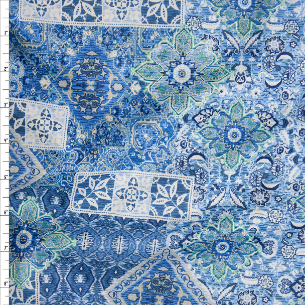 Blue, White, and Lime Ornate Tiled Pattern Fine Cotton Lawn from 'Tori Richards' Fabric By The Yard