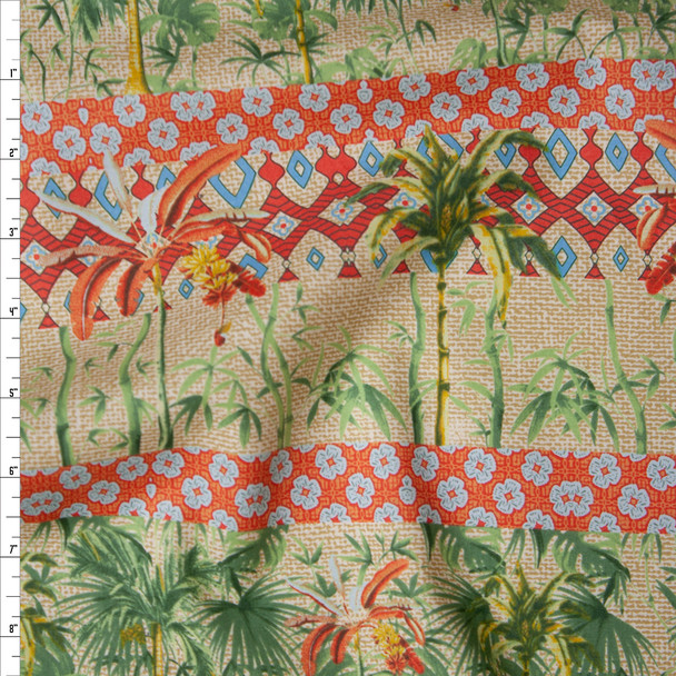 Red, Tan, Orange, and Green Island Stripe Fine Cotton Lawn from 'Tori Richards' Fabric By The Yard