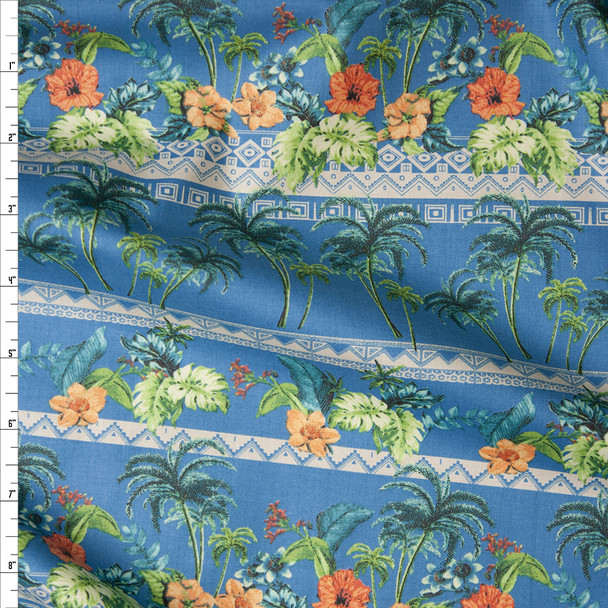 Blue Island Foliage Tribal Stripe Fine Cotton Lawn from 'Tori Richards' Fabric By The Yard