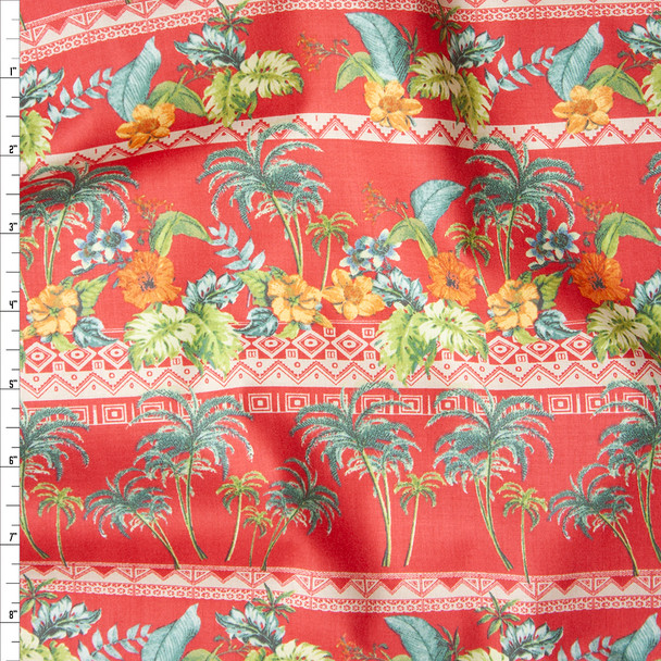 Red Island Foliage Tribal Stripe Fine Cotton Lawn from 'Tori Richards' Fabric By The Yard