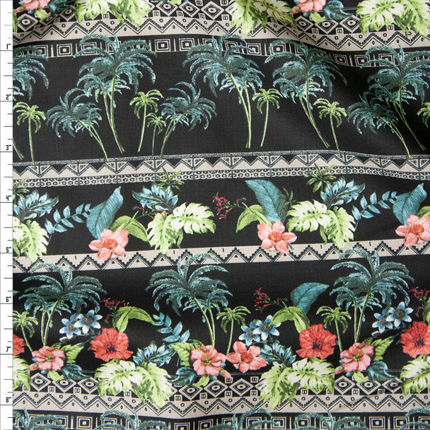 Black Island Foliage Tribal Stripe Fine Cotton Lawn from 'Tori Richards' Fabric By The Yard