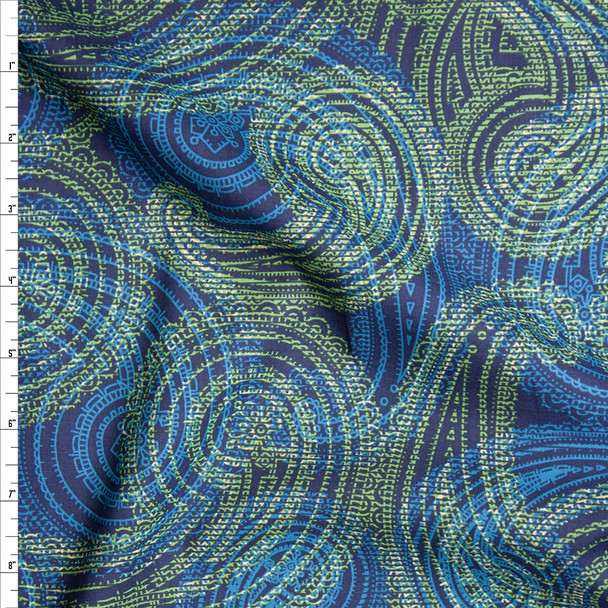 Lime and Turquoise Layered Paisley Print on Navy Fine Cotton Lawn from 'Tori Richards' Fabric By The Yard