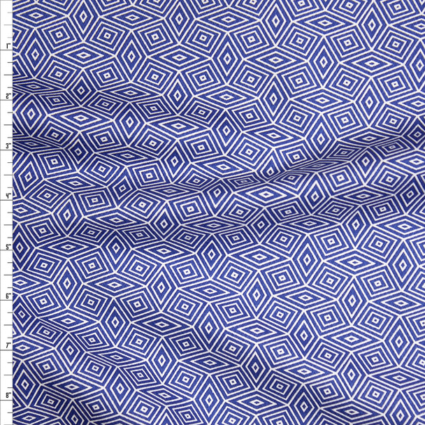 Navy and White Diamond Pattern Fine Cotton Jacquard from 'Tori Richards' Fabric By The Yard