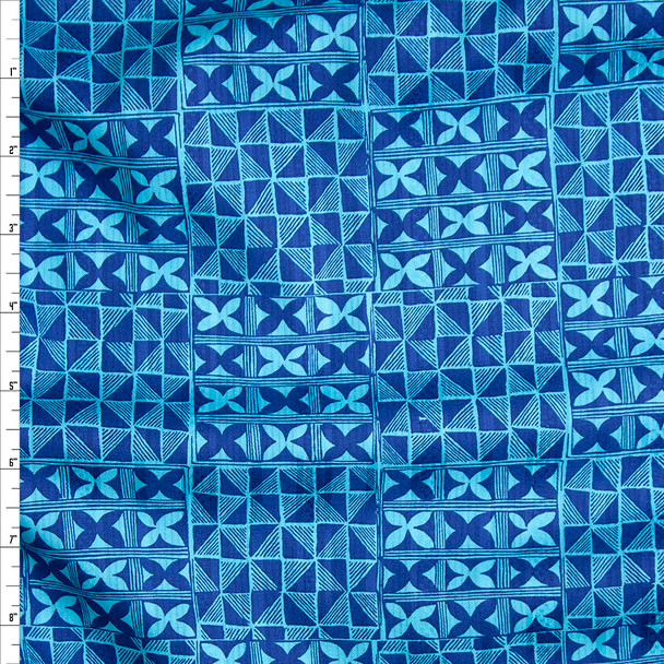 Navy and Turquoise Checkered Island Geometric Fine Cotton Jacquard from 'Tori Richards' Fabric By The Yard