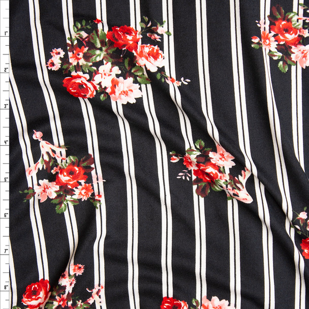 Rose Floral on Black and White Stripe Double Brushed Poly Spandex Fabric By The Yard