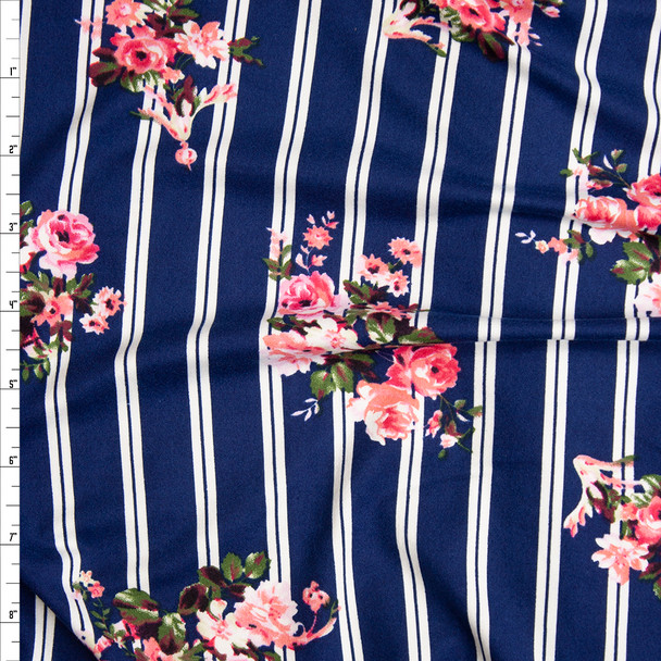 Rose Floral on Navy and White Vertical Stripe Double Brushed Poly Spandex Fabric By The Yard