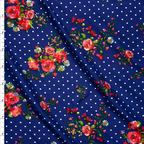 Rose Floral on Black and Navy Polka Dot Double Brushed Poly Spandex Fabric By The Yard