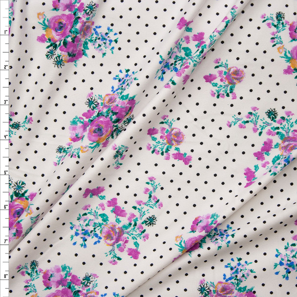 Lavender Floral on Black and White Polka Dot Double Brushed Poly Spandex Fabric By The Yard