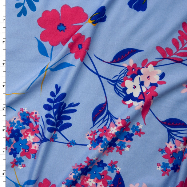 Hot Pink and Blue Flowers on Light Blue Double Brushed Poly Spandex Fabric By The Yard