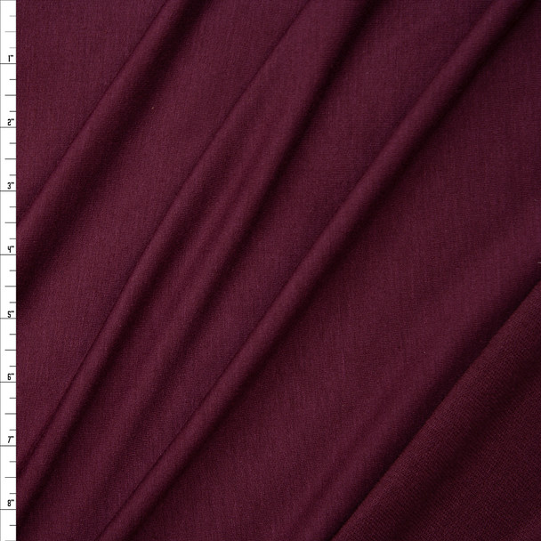 Deep Wine Stretch Lightweight Poly/Rayon French Terry Fabric By The Yard