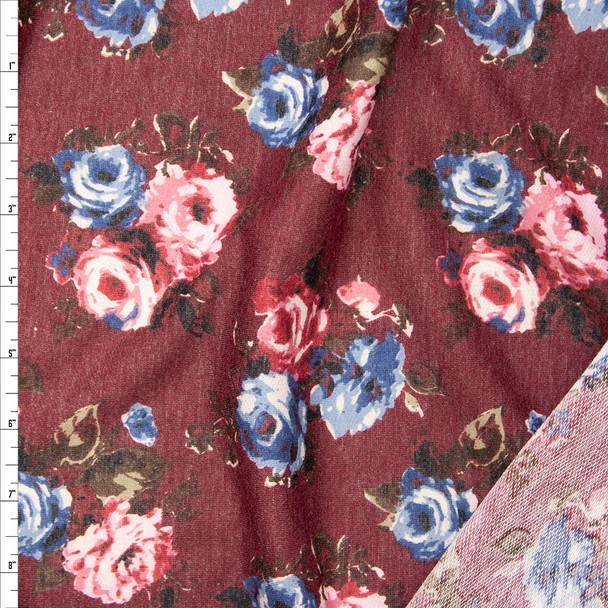 Rose Floral on Wine Lightweight Poly/Rayon French Terry Fabric By The Yard
