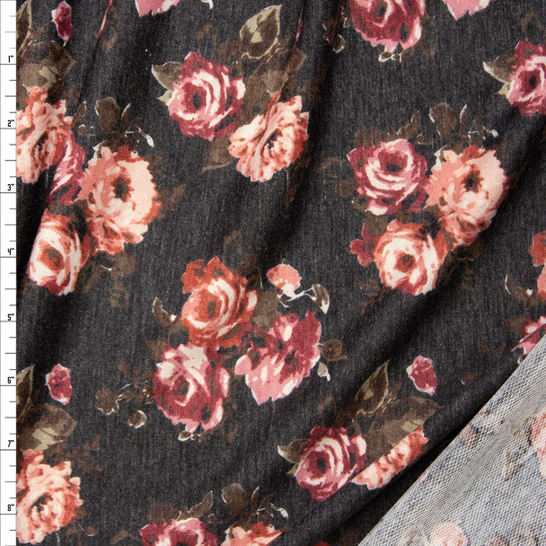 Rose Floral on Charcoal Heather Lightweight Poly/Rayon French Terry Fabric By The Yard