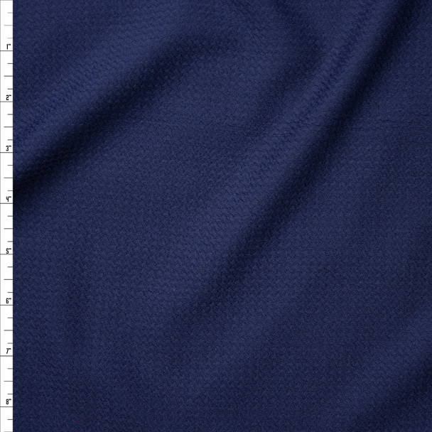 Navy Blue Solid Braided Look Liverpool Knit Fabric By The Yard