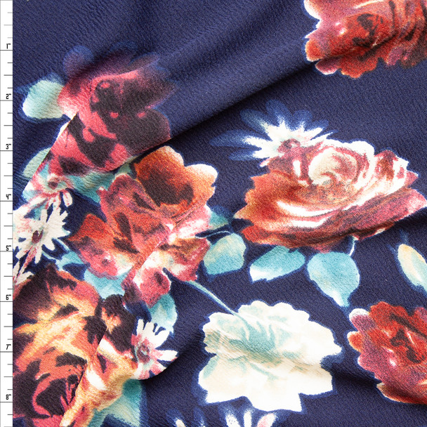 Plum, Dusty Aqua, and Tan Floral on Navy Blue Liverpool Knit Fabric By The Yard