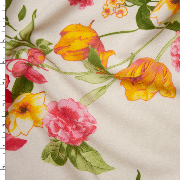 Red, Yellow, and Pink Floral on Ivory Liverpool Knit Fabric By The Yard
