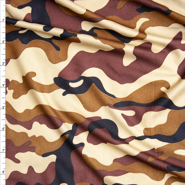 Warm Brown, Caramel, Cream, and Black Camouflage Print Double Brushed Poly Spandex Fabric By The Yard