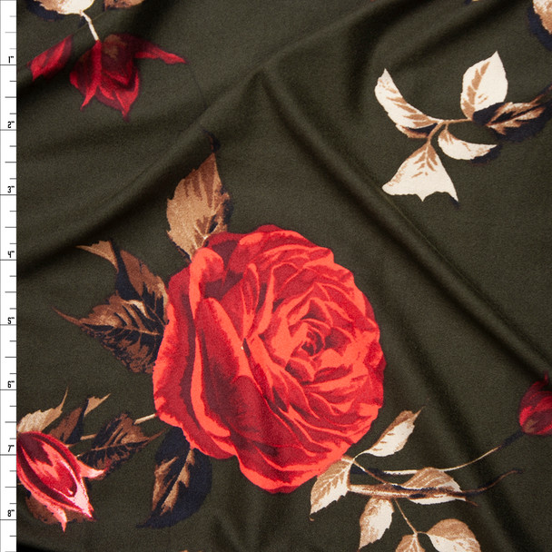 Red, Tan, and Brown Cabbage Rose Floral on Dark Olive Double Brushed Poly Spandex Fabric By The Yard