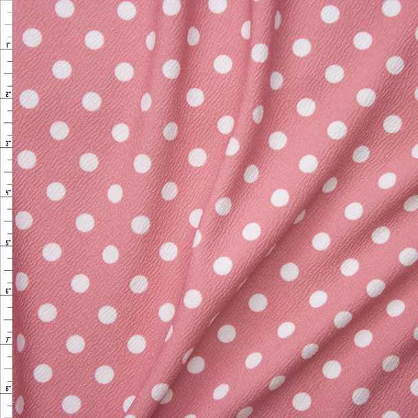 White on Dusty Pink Polka Dot Liverpool Knit Fabric By The Yard