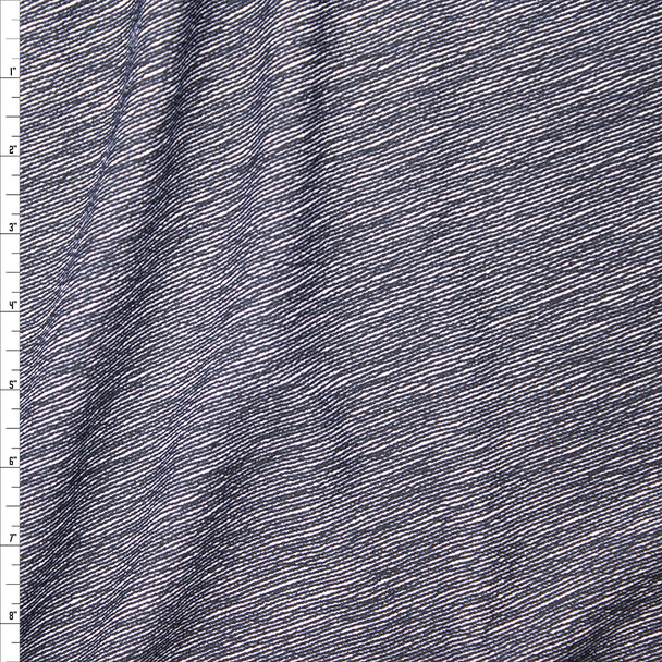 Black Denim Like Diagonal Stripe on White Liverpool Knit Fabric By The Yard