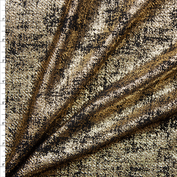 Gold Grunge Metallic on Black Liverpool Knit Fabric By The Yard