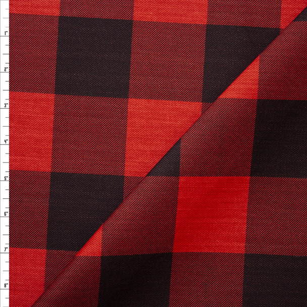 """Red and Black 2.125"""" Buffalo Plaid Heavyweight Cotton Twill Fabric By The Yard"""