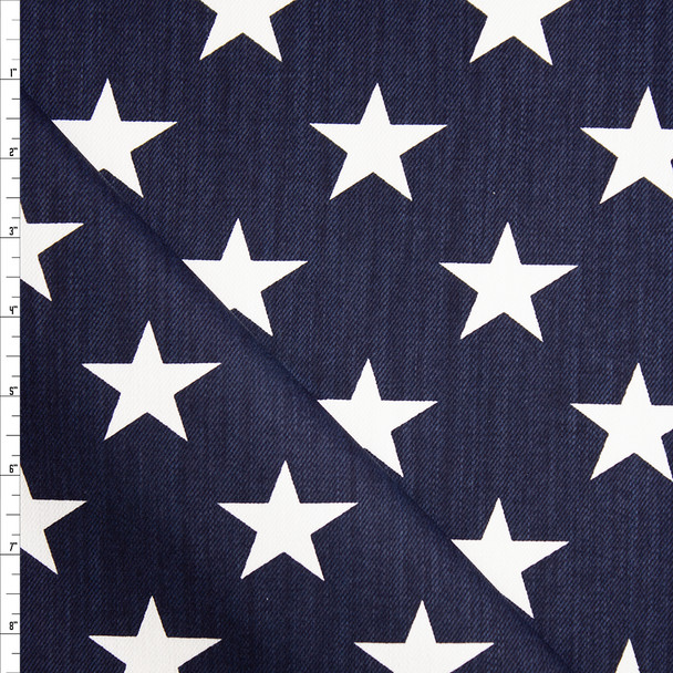 White Stars on Navy Blue Heavyweight Cotton Twill Fabric By The Yard