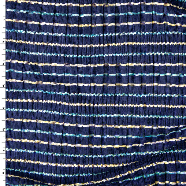 Yellow, White, and Light Blue Stripes on Navy Ribbed Midweight Sweater Knit Fabric By The Yard