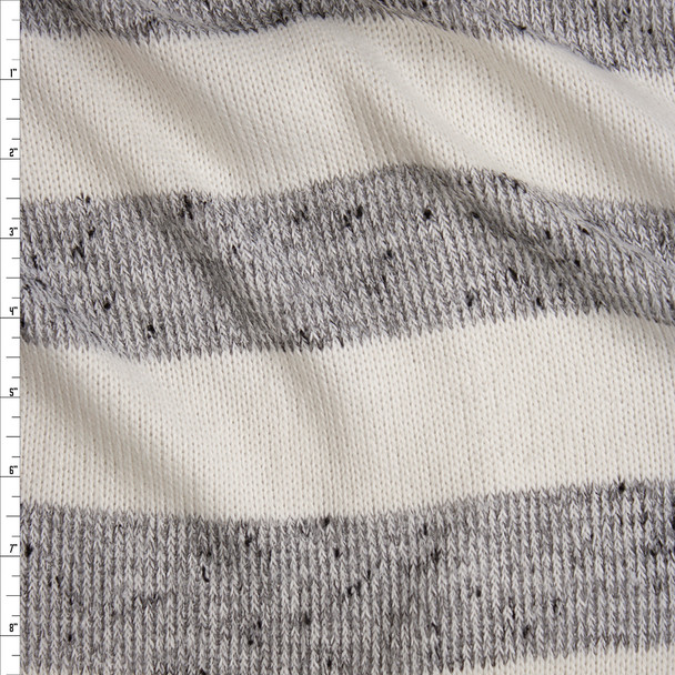 Grey and Offwhite Horizontal Stripe Soft Sweater Knit Fabric By The Yard