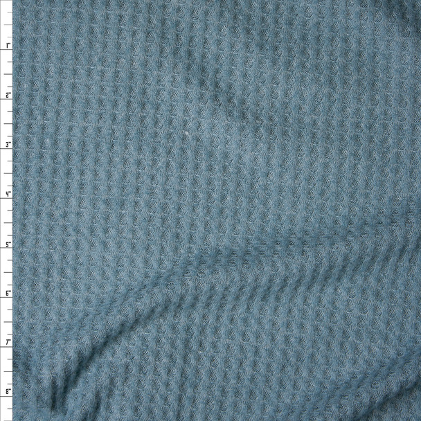 Teal Grey Soft Waffle Knit Fabric By The Yard