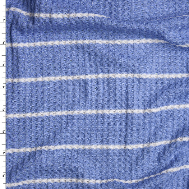Light Blue with Horizontal White Striped Soft Waffle Knit Fabric By The Yard