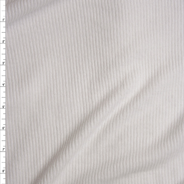 White Brushed Ribbed Sweater Knit Fabric By The Yard