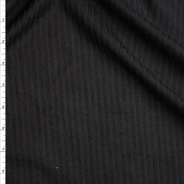Black Brushed Lightweight Ribbed Sweater Knit Fabric By The Yard