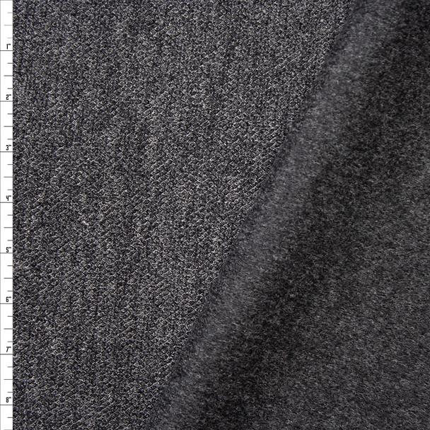 Charcoal Heather Heavyweight Sweater Knit Sweatshirt Fleece Fabric By The Yard