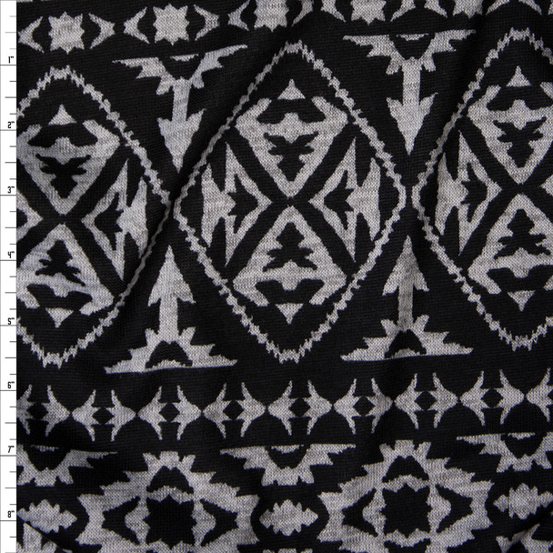 Grey Heather Tribal on Black Sweater Knit Fabric By The Yard