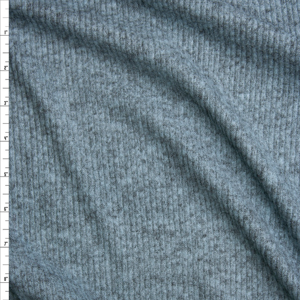 Teal Grey Heather Brushed Ribbed Sweater Knit Fabric By The Yard