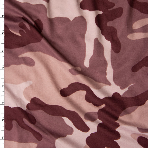 Wine and Rosé Camouflage Double Brushed Poly Spandex Fabric By The Yard