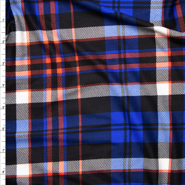 Red, White, Blue, and Black Plaid Double Brushed Poly Spandex Fabric By The Yard