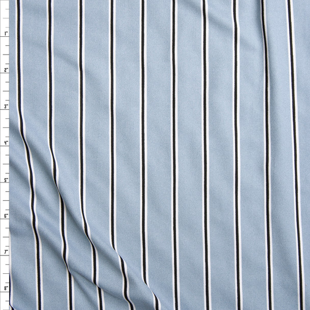Black and White Narrow Vertical Stripes on Dusty Light Blue Double Brushed Poly Spandex Fabric By The Yard