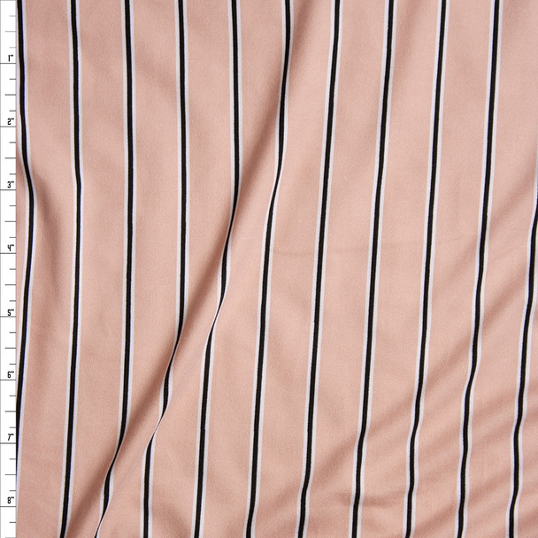 Narrow Black and White Vertical Stripes on Blush Pink Double Brushed Poly Spandex Fabric By The Yard